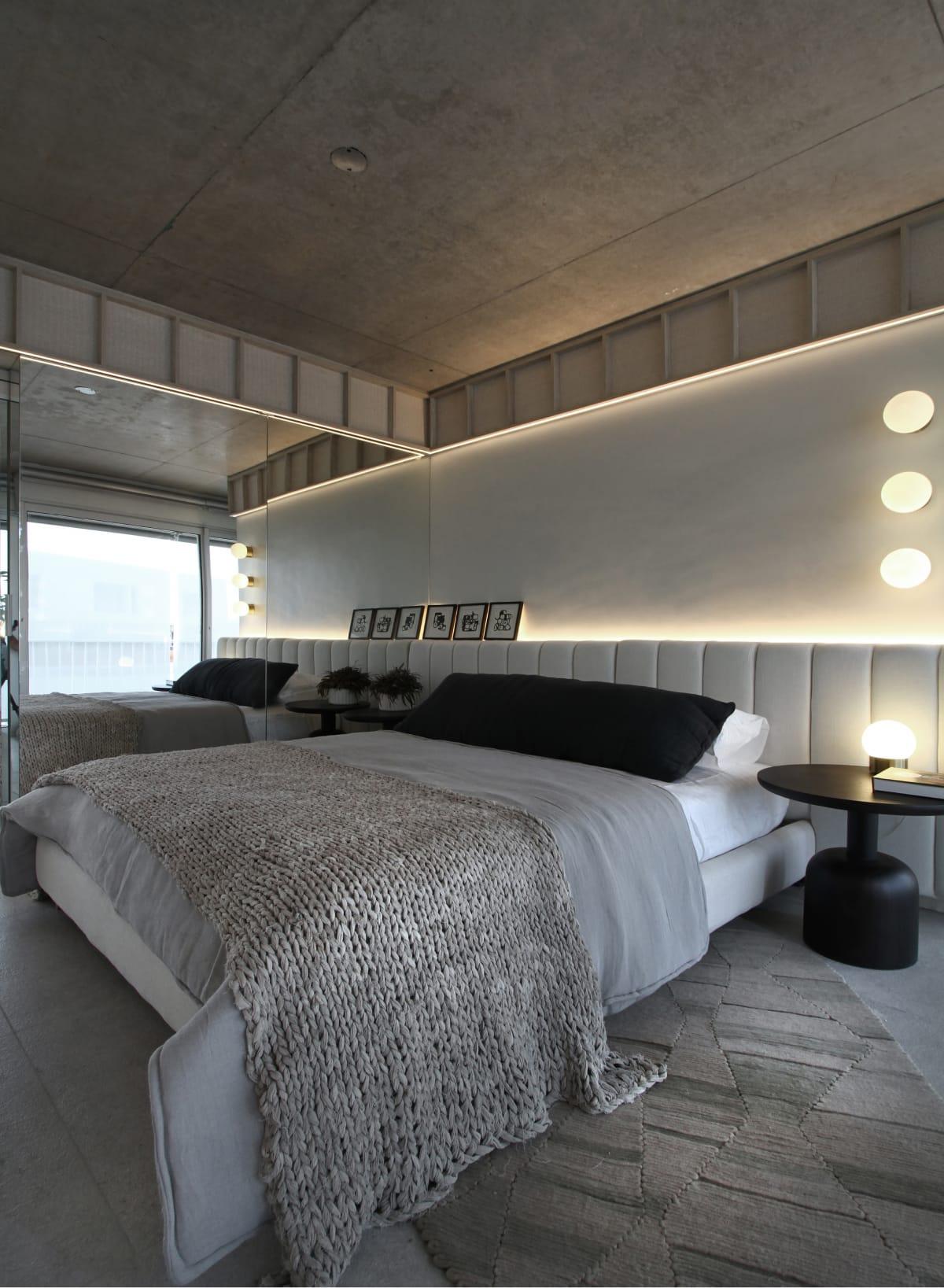 Colchón y sommier de la línea Rosen Deco en el dormitorio de la unidad diseñada por Viviana Melamed.
